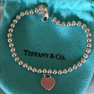 Authentic Tiffany Pink Enamel Heart Bracelet